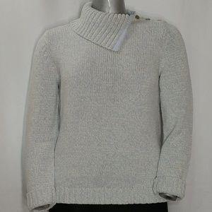 Chaps Blue Heavy Knit Open Turtleneck Sweater, XL